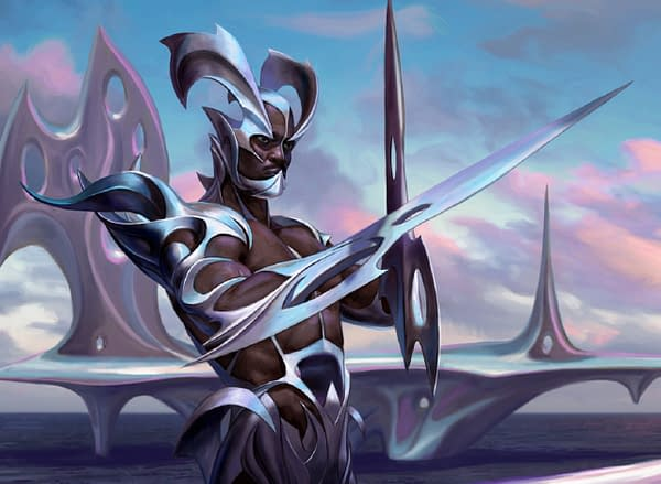 """The full art for Esper Sentinel, a Magic: The Gathering card originally from Modern Horizons II, and potential inclusion in the """"In The Machine"""" pack from JumpStart: Historic Horizons. Illustrated by Eric Deschamps."""