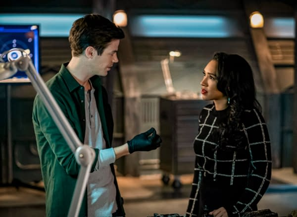 """The Flash -- """"So Long and Goodnight"""" -- Image Number: FLA616b_0125b.jpg -- Pictured: Grant Gustin as Barry Allen and Candice Patton as Iris West - Allen -- Photo: Colin Bentley/The CW -- © 2020 The CW Network, LLC. All rights reserved"""