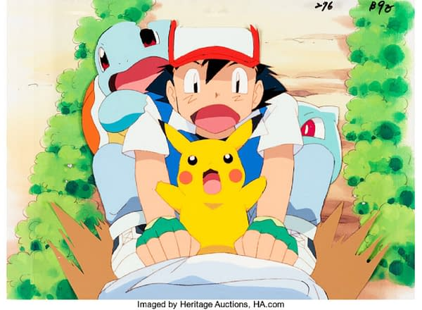 A production cel from Pokémon: The First Movie (1998), in which Ash Ketchum and three of his Pokémon companions - Pikachu, Squirtle, and Bulbasaur - are sliding down a hill. This production cel is available at Heritage Auctions right now!