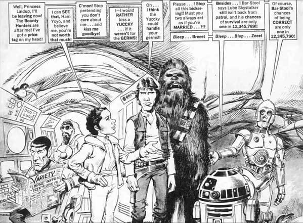 Artwork by Mort Drucker parodying The Empire Strikes Back.