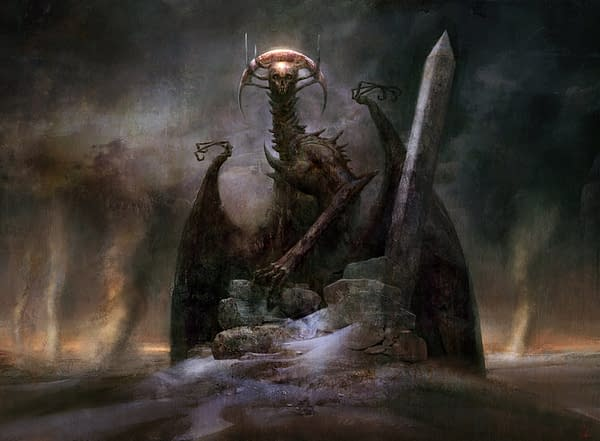The artwork for Archfiend of Ifnir, a card from Amonkhet, an expansion set from 2017 for Magic: The Gathering. Illustrated by Seb McKinnon.