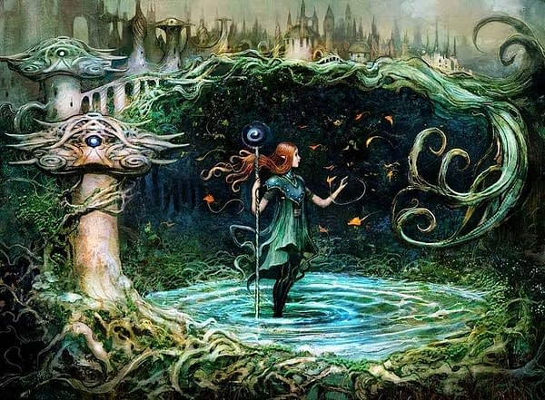 The artwork for Growth Spiral, a card from Ravnica Allegiance, an expansion set from 2019 for Magic: The Gathering. Illustrated by Seb McKinnon.