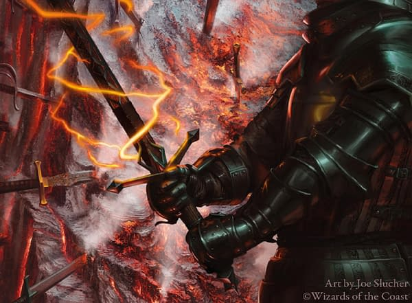 The full art for Embercleave, a card from Magic: The Gathering's Throne of Eldraine expansion. Ally Warfield has actively expressed her disdain in playing against Embercleave in the past.