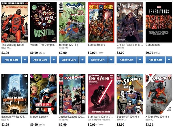 ComiXology Bestseller List – 15th March 2018 – Invaded by the Marvel 99 Cent Sale