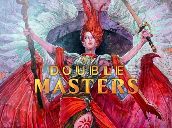 The logo for Double Masters, with new deluxe artwork for Kaalia of the Vast in the background.