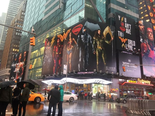 Justice League film marketing in Times Square