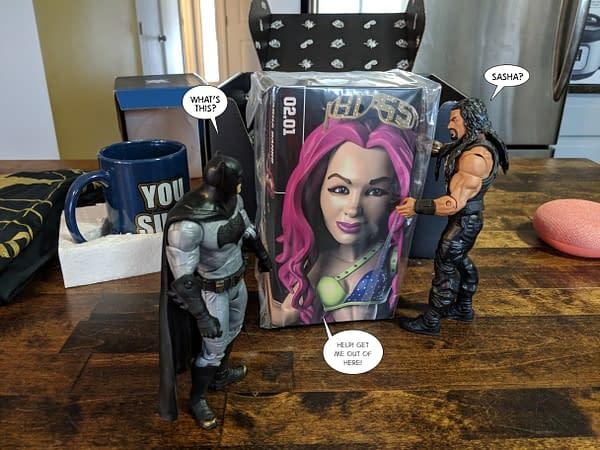 Batman and Roman Reigns Unbox January's WWE Slam Crate