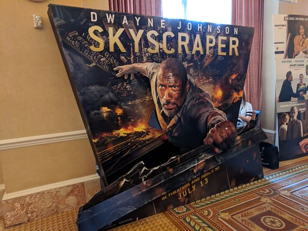 You'll Die Hard When You See This #CinemaCon2018 Standee for Dwayne Johnson's Skyscraper