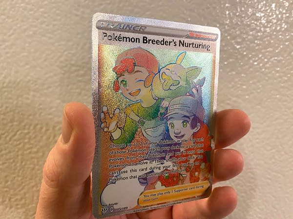 Darkness Ablaze Rainbow Rare Pokémon Breeder's Nurturing. Credit: Pokémon TCG