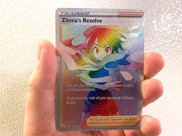 Evolving Skies Zinnia's Resolve Rainbow Rare. Credit: Pokémon TCG