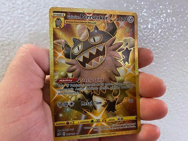 Shiny Perrserker Gold Card from Rebel Clash. Credit: Pokémon TCG