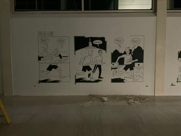 Paul Rainey's Jog On Appears on the Walls of The Centre MK in Milton Keynes