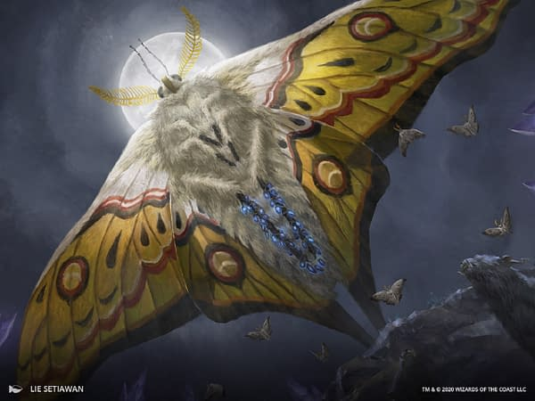 The artwork for Luminous Broodmoth, a card from Ikoria: Lair of Behemoths, a set for Magic: The Gathering. Illustrated by Lie Setiawan.