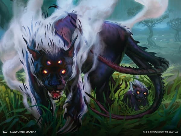 The artwork for Lurrus of the Dream-Den, a card from Ikoria: Lair of Behemoths for Magic: The Gathering. Illustrated by Slawomir Maniak.