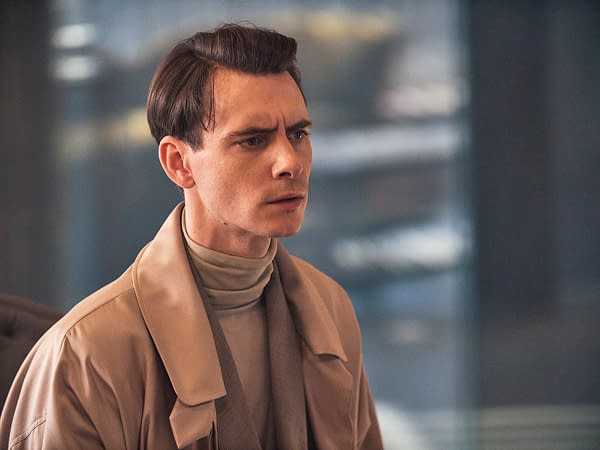 "BRAVE NEW WORLD -- ""Pilot"" Episode 101 -- Pictured: Harry Lloyd as Bernard Marx -- (Photo by: Steve Schofield/Peacock)"