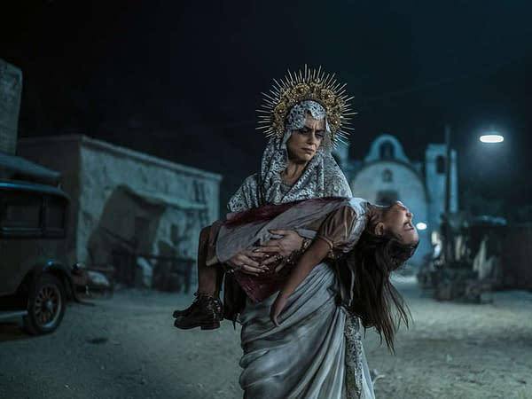 Santa Muerte cradles the dead on Penny Dreadful: City of Angels, courtesy of Showtime.