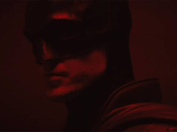 Robert Pattinson as The Batman. Image Courtesy of Warner Bros