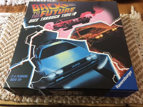 The front lid of Back to the Future: Dice Through Time, a new board game by Ravensburger.