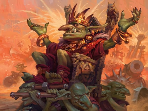 The artwork for Muxus, Goblin Grandee, a new card from Jumpstart, an upcoming Sealed-based expansion set for Magic: The Gathering. Illustrated by Dimitry Burmak.