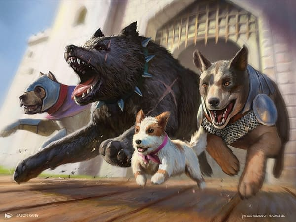 Artwork for Release the Dogs, a new card from Jumpstart, an upcoming Limited-centric expansion set for Magic: The Gathering. Illustrated by Jason Kang.