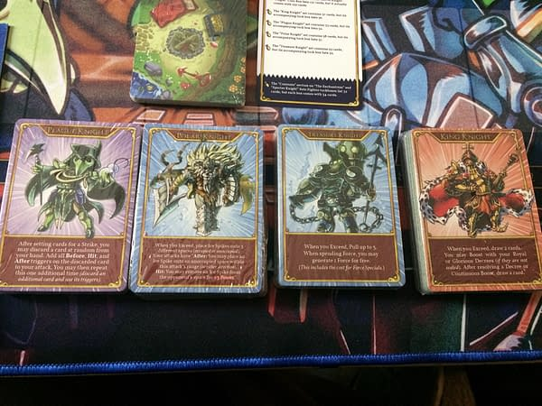 The four sealed Plague Knight decks for the Exceed Fighting System by Level 99 Games, featuring Plague Knight, Polar Knight, Treasure Knight, and King Knight.