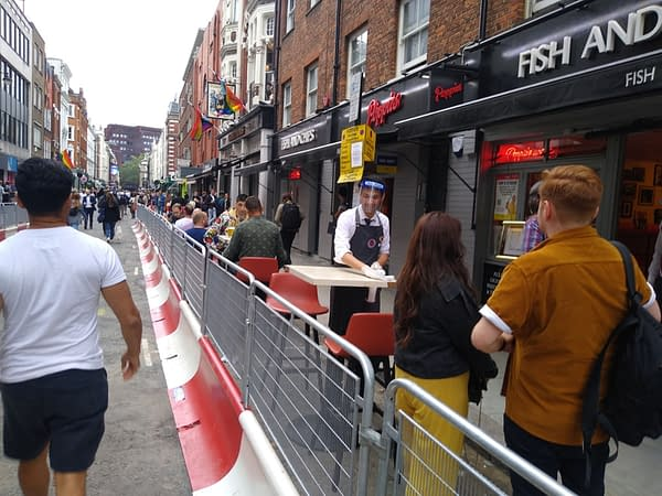 Soho on England's Independence Day, 4th July.