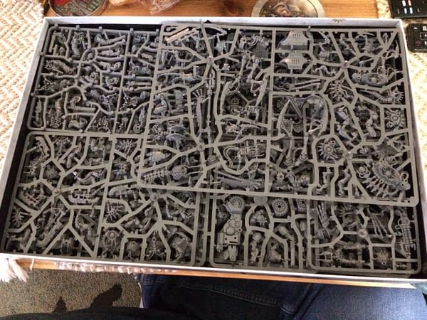 An image showing all of the sprues fit together in the Indomitus box for Warhammer 40,000's ninth edition by Games Workshop.