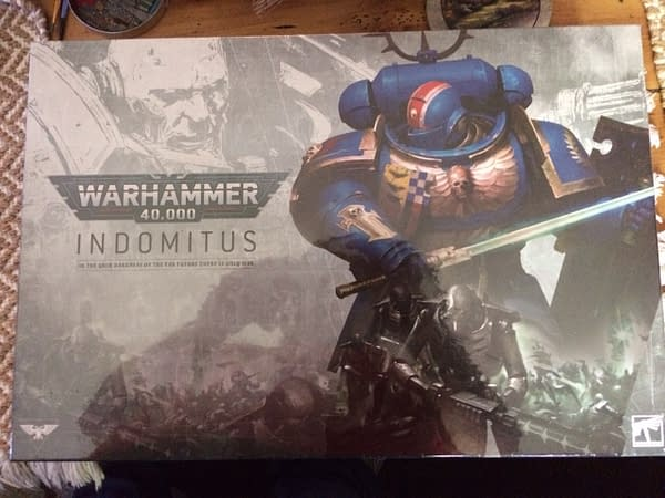 The front lid of the box for Indomitus, the new release coinciding with the new ninth edition of Games Worskhop's game, Warhammer 40,000.