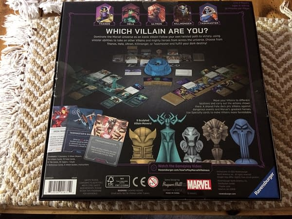 The back lid for Marvel Villainous: Infinite Power, a new board game by Ravensburger.