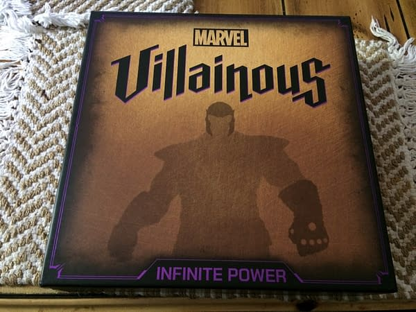 The front lid for the new Ravensburger tabletop board game, Marvel Villainous: Infinite Power.