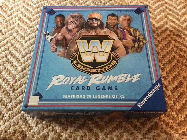 The front lid for the WWE Legends Royal Rumble Card Game by Ravensburger, which features 30 legendary wrestlers from the WWE.