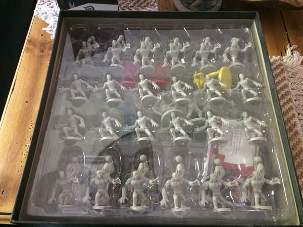 24 Putty Patrol figures from the Power Rangers: Heroes of the Grid board game's core game by Renegade Game Studios. The other figures are placed below these.