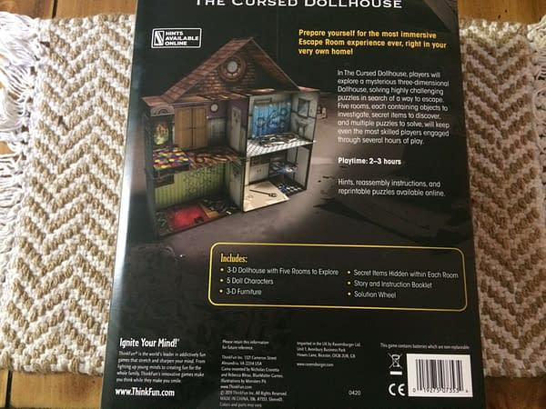 The rear of the box for Escape The Room: The Cursed Dollhouse by ThinkFun Inc., out this Fall!