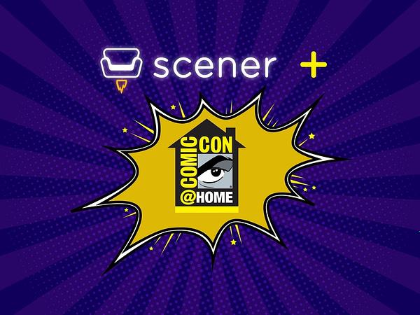 Comic-Con@Home and Scener logo