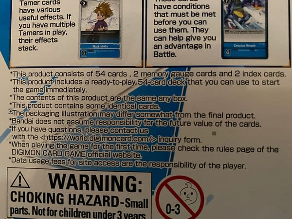Various product disclaimers for the Digimon Card Game, issued by Bandai, here seen on the Cocytus Blue starter deck's packaging.