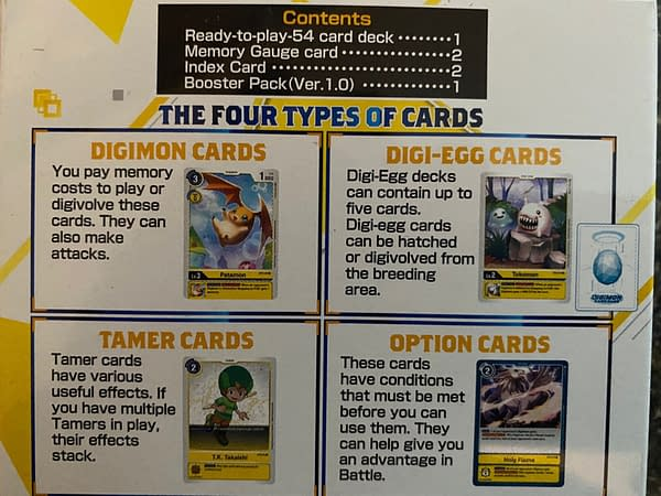 Explanations of each card type on the back of the Heaven's Yellow starter deck's packaging.