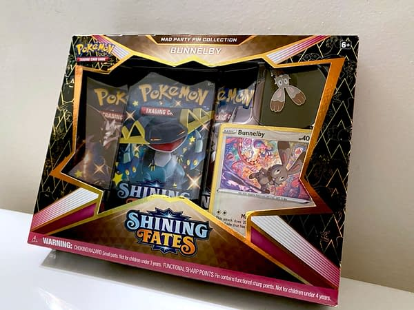 Pokémon TCG Shining Fates Mad Party Pin Collection. Credit: TPCI