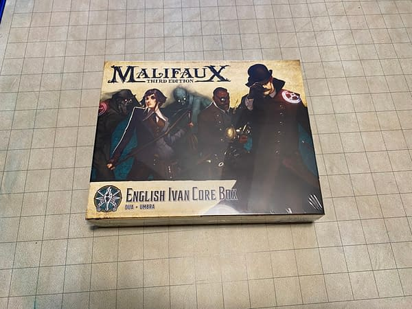 The unassuming, yet spooky, core box of English Ivan. Part of the Explorer's Society of Malifaux, by Wyrd Games.