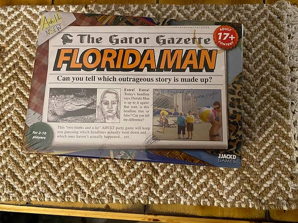 The front cover of the Florida Man board game by JJACKD Games and UltraPro. Note that this game is not safe for work and is billed for ages 17 and up.