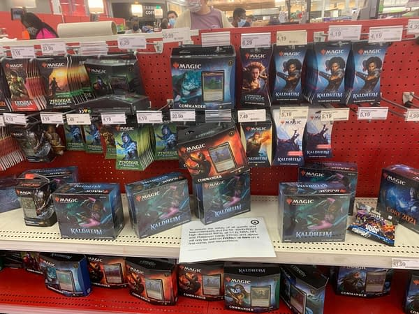 A nearly full supply of Magic: The Gathering cards at a Target store. These cards are nonetheless being limited for purchase at the retailer.