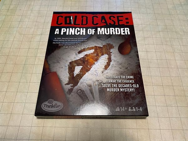 The front cover of Cold Case: A Pinch of Murder, the second game in the immersive Cold Case series by ThinkFun.