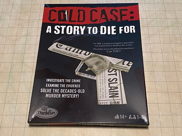 The front cover of Cold Case: A Story To Die For, an immersive game experience by ThinkFun.