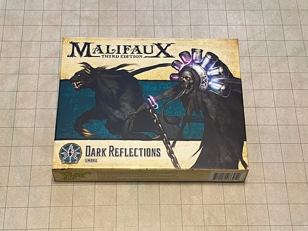"The front of the box for ""Dark Reflections"", a boxed set from Wyrd Miniatures' wargame Malifaux."