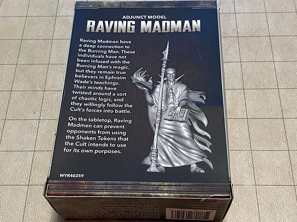 The rear of the box for the Raving Madman by Wyrd Miniatures for their wargame, The Other Side.