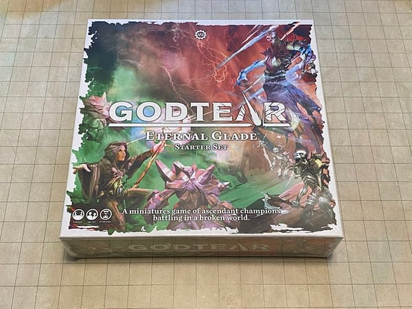 The front lid of the box for the Godtear: Eternal Glade starter set by Steamforged Games.
