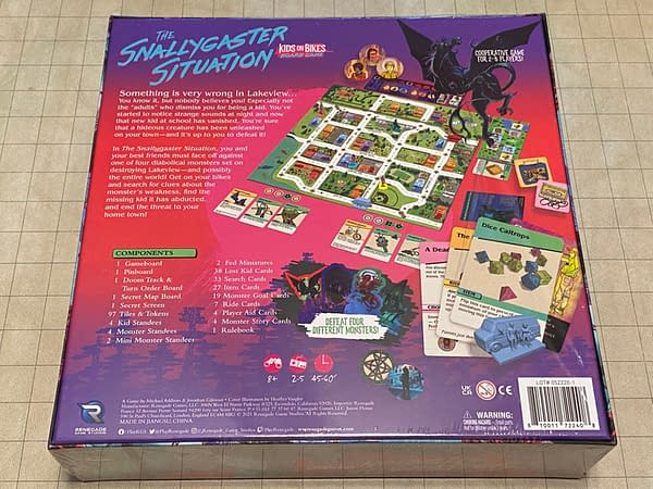 The rear face of the box for The Snallygaster Situation, a board game by Renegade Game Studios based on the Kids on Bikes RPG.