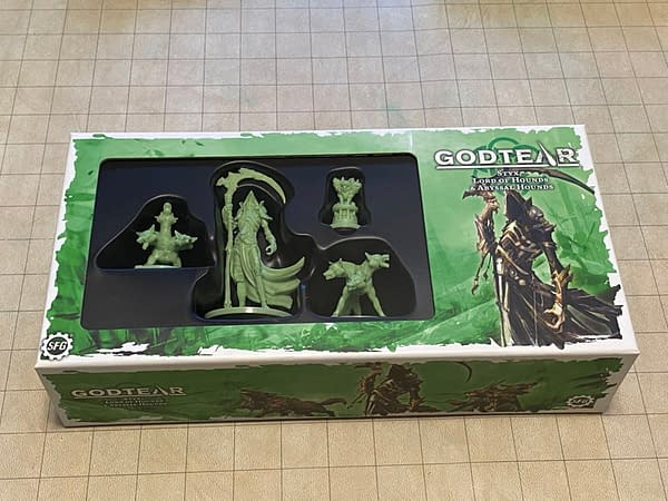 The front lid of the box for Styx, an upcoming Champion release from Steamforged Games' skirmisher board game Godtear.
