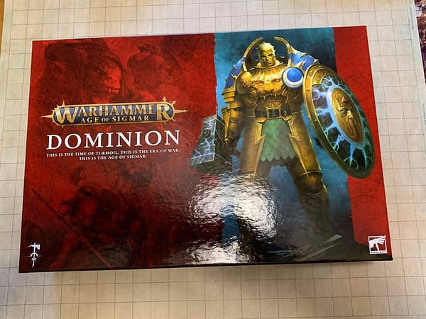 The top lid of Age of Sigmar: Dominion, the third edition starter set for the game, designed and produced by tabletop gaming industry giant Games Workshop.