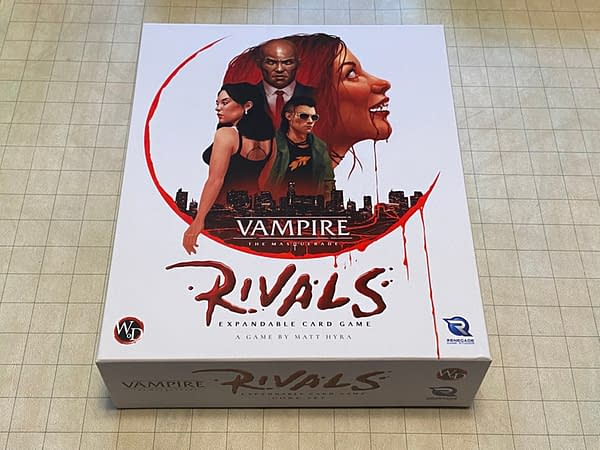 The front lid of the box for Vampire: The Masquerade Rivals, an expandable card game by Renegade Game Studios.