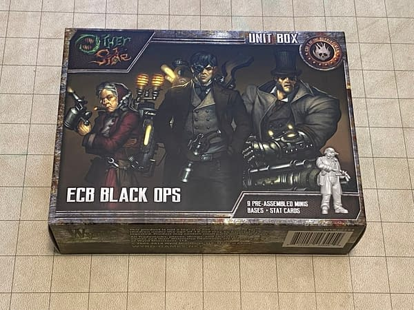 The box for the ECB Black Ops, a unit from the Cult of the Burning Man from The Other Side, a wargame by Wyrd Miniatures.